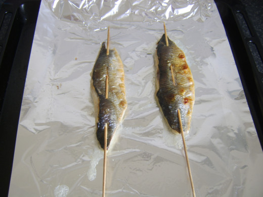 Grilled herring fillets