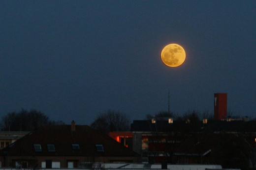 Supermoon over Munster, Germany, 19 March 2011