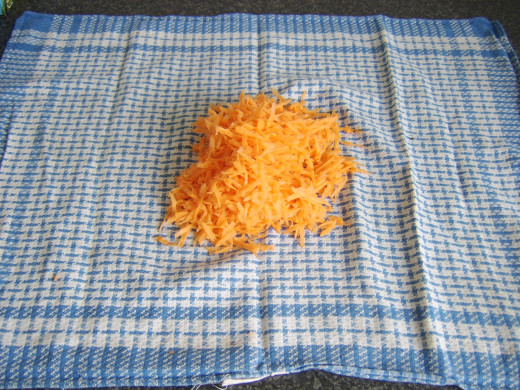 Coarsely grated sweet potato
