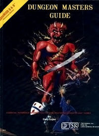 the original Advanced Dungeons and Dragons dungeon master guide with a demon on the cover