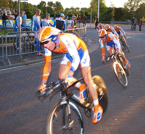 Rabobank in Team Time Trial action. Winning a Tour de France team time trial will net the winning team 25,00 euros.