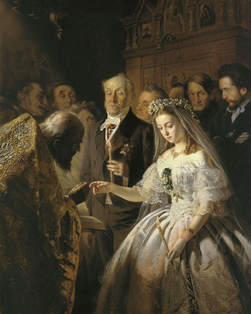"""The Unequal Marriage"" by Vasili Pukirev  in 1862, portrays a rather depressing scene of a young Russian girl in the process of betrothal to a much older man"