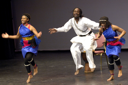 """Members of the Teddy Masuku Dancers in the stage production of """"Follow the North Star"""" in Canada. Courtesy,  Sgt Serge Gouin, office of the Governor General of Canada. The British Imperial Act of 1833 aboliished slavery in the British Empire, includi"""