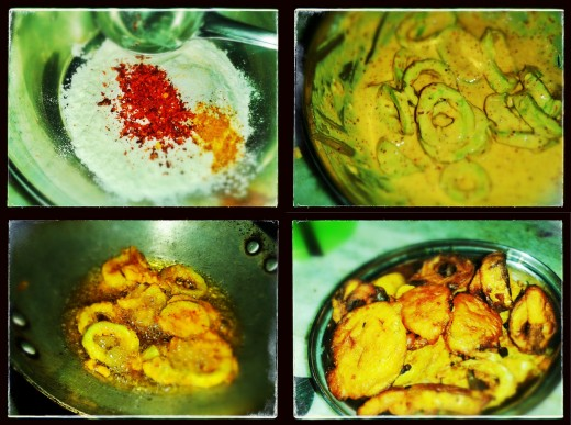 Step 4: Dip the sliced Snake gourds into the mixture of Maida,CornFlour,Chilli powder, Salt and water & fry