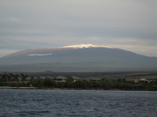 Mauna Kea, Hawaii, with its winter snow cap from the Pacific Ocean.