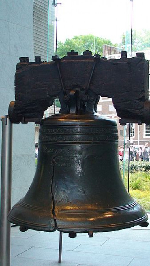 "The Liberty Bell. Its biblical inscription is, ""PROCLAIM LIBERTY THROUGHOUT ALL THE LAND UNTO ALL THE INHABITANTS THEREOF LEV. XXV X."""