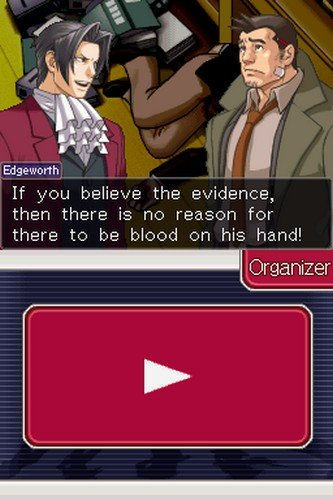 Ace Attorney Investigations: Miles Edgeworth. A scene from the NDS game