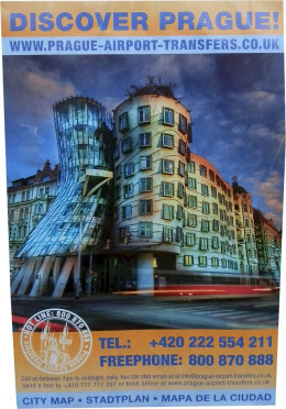 A free map of Prague handed out by a taxi driver