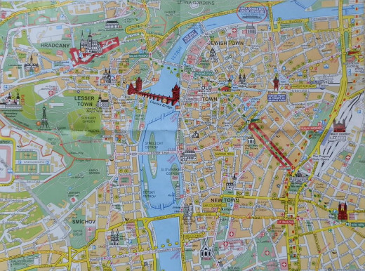 Shows Prague laid out with major landmarks highlighted