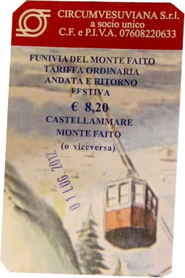 A ticket stub from a trip on the cable from Castellammare di Stabia to Monte Faito