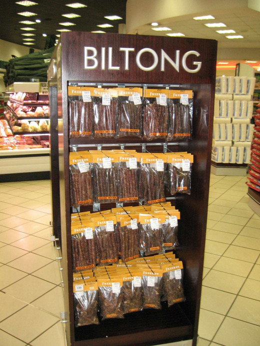 Biltong for sale in a Despar supermarket, Johannesburg