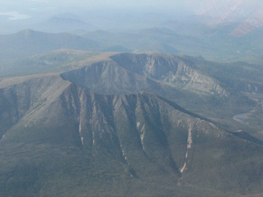 Aerial view of the Mount Katahdin massive.  Maine.
