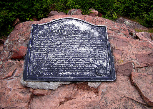 The plaque at the summit of Eagle Mountain, Minnesota.
