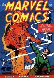 Carl Burgos created character the Human Torch burns into the action.
