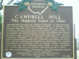 The historical marker on Campbell Hill, Ohio.