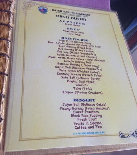 Batur Sari Restaurant Buffet Menu