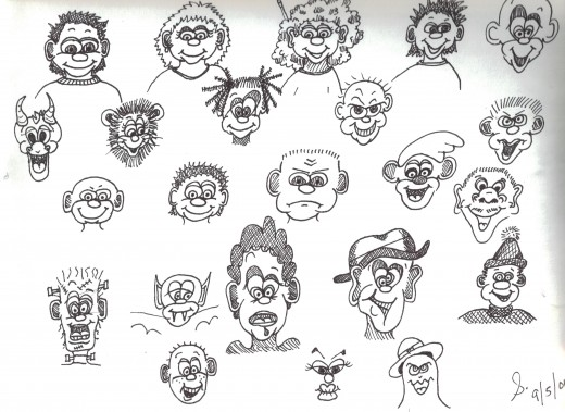 "playing with different facial features, and different ""personalities""..."