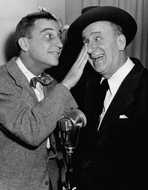Garry Moore and Jimmy Durante on their 1940s radio show.