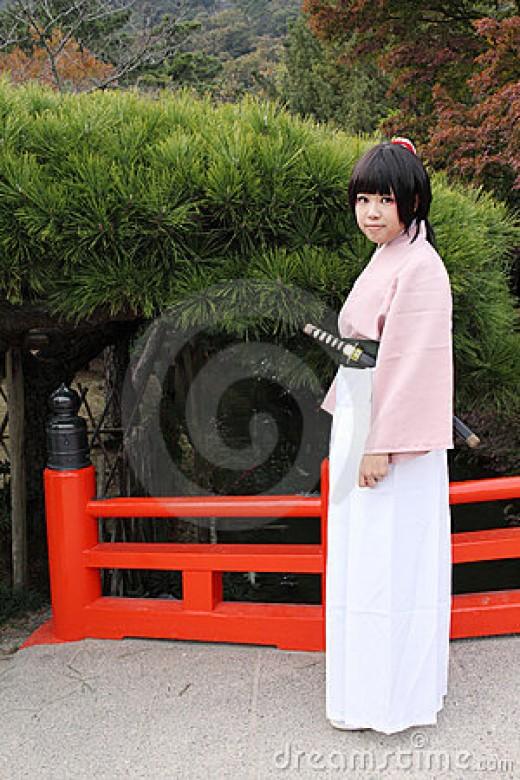 Cosplayer in Hakama and Kimono