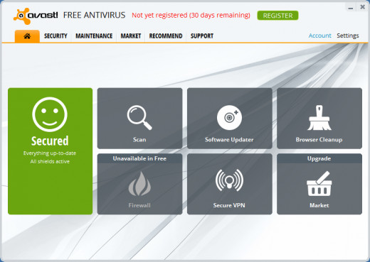Avast! Free Antivirus main interface