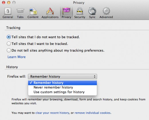 "The Preferences window with the Privacy tab open showing how to select ""Never remember history."""