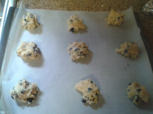 Drop mounded Tablespoons of dough onto parchment lined cookie sheets and bake.