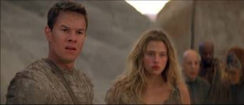 Mark Wahlberg plays along side intelligent apes. He being the minority, human. He didn't mean to land here, his ship crashed.  He is just trying to survive.