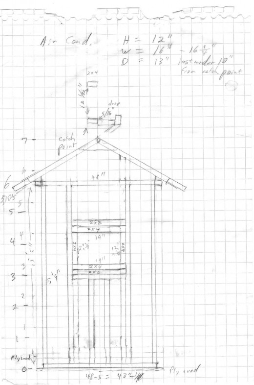 Drawing of back wall frame.  See comments in text for clarification.