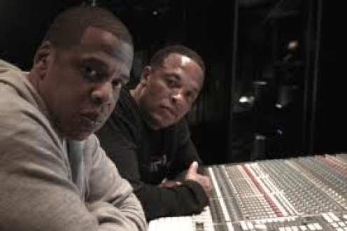 Legends of the game: Dr. Dre and Jayz putting it together in the recording studio.