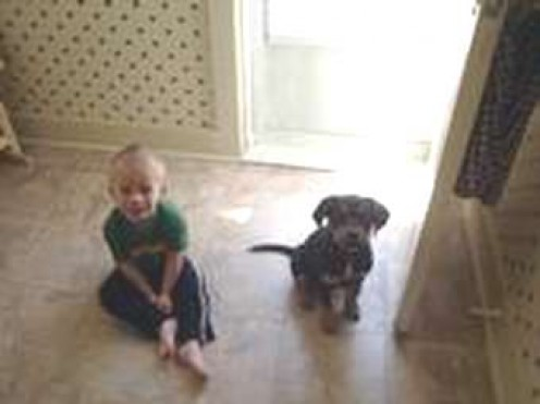 grandson and puppy