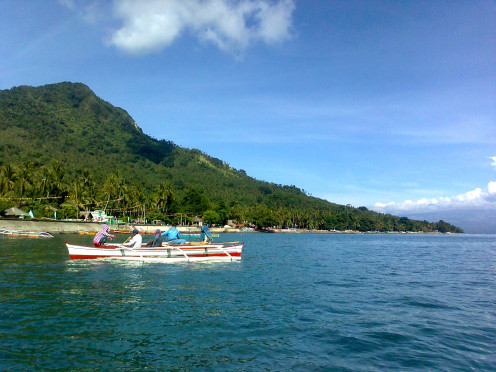 A Pump boat and a side-view of the island.