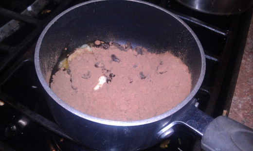 melt the chocolate, butter, and cocoa powder