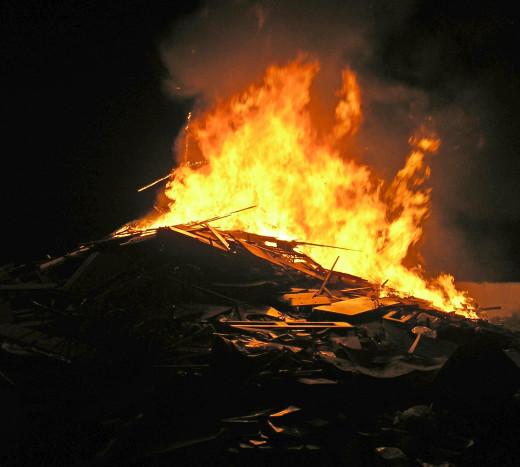 Bonfire burning in San Marcos on Noche de San Juan