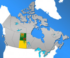 Map of Canada showing the province of Saskatchewan with the Saskatchewan flag image