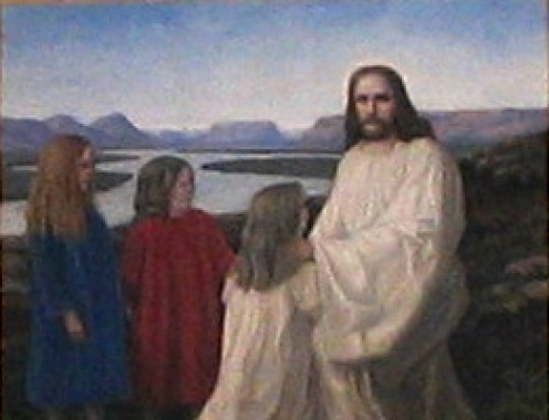 The altarpiece of the church at Þingeyri, Iceland. Christ is sitting with three girls (the painter's daughters) in an Icelandic landscape. Photo taken 06/17/2007. Painting made before 1925.