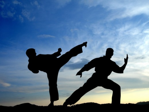 Karate Practitioners Sparring