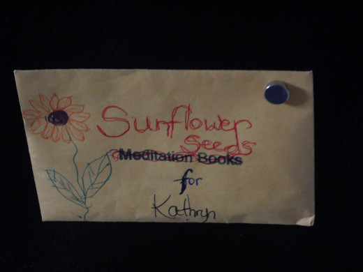 An envelope of sunflower seeds from Karen, complete with artwork!