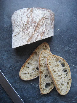 Ciabatta is a crusty bread with a light and chewy inside. It is good for sandwiches, or just for eating.