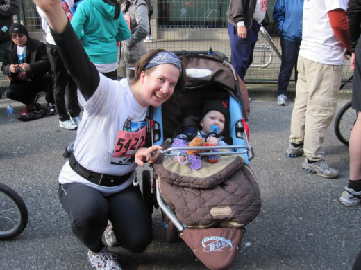 My 11 month old baby and I at the Vancouver Sun Run in March 2011.