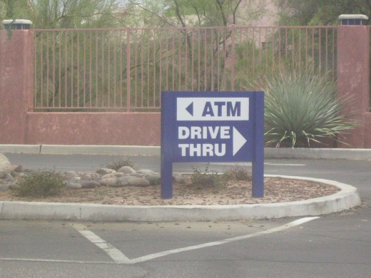 Sign for Drive Through ATM Machine