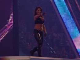 Trish Stratus performing at  her entrance at WrestleMania XXVII