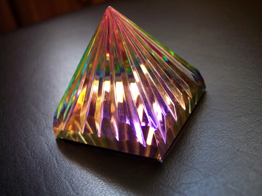 Metaphysical crystal pyramid that represents the auras.