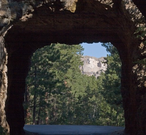 Mount Rushmore framed in a tunnel