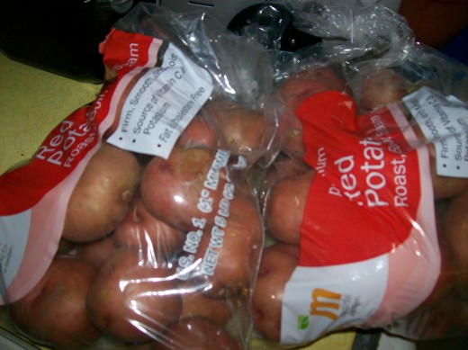 I purchased two bags of potatoes not knowing how many I would need. I used one five pound bag because when rinsing the first set I accidentally spilled some down the sink.