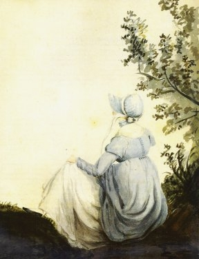 A watercolor of Jane Austen by her sister, Cassandra.
