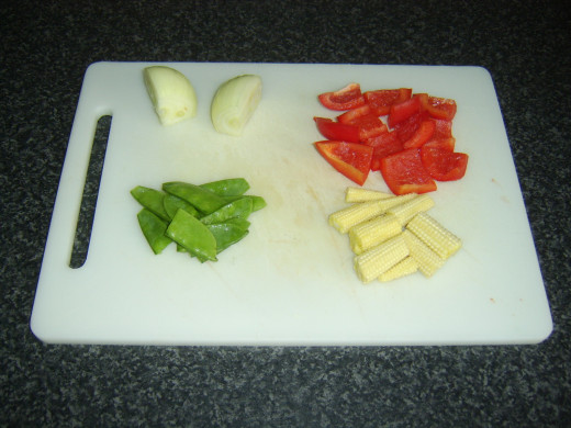 Vegetables prepared for stir frying