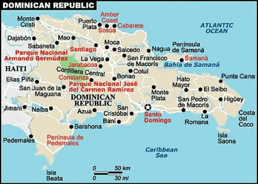 An island with two countries, Haiti on one side, Dominican Republic on the other