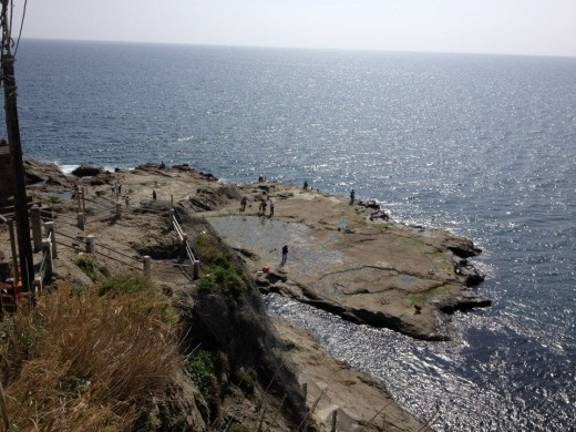 Platforms of rocks along the southern coast of Enoshima