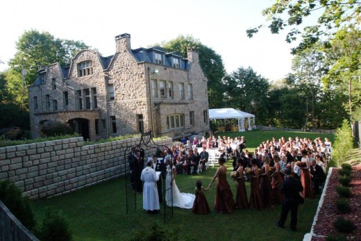 Guests At Outdoor Mansion Wedding