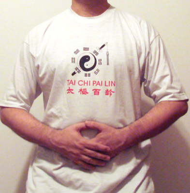 Tai Chi practitioner with his palms facing the lower dantien where energy can be stored.  This is a common practice after exercise sets in qigong, neigong and Tai Chi.